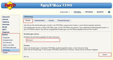 Fritz!Box Sicherung