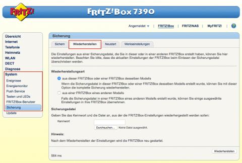 Fritz!Box Wiederherstellen