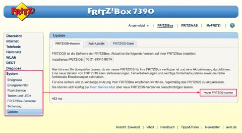 Fritz!Box Update Seite