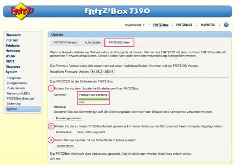 Fritz!Box FRITZ!OS Datei einspielen