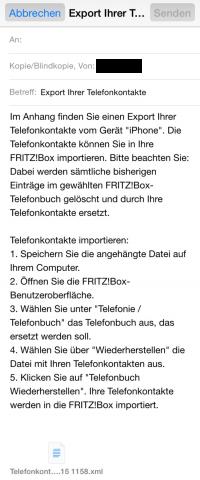 FRITZ!App Kontakte per Mail versenden