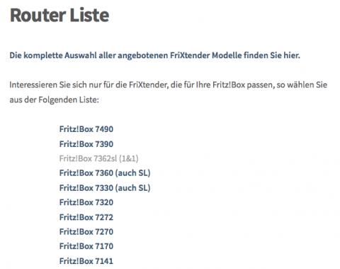 FriXtender Router Liste externe FRITZ!Box Antennen