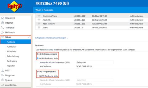 Fritz!Box 7490 WLAN Einstellungen